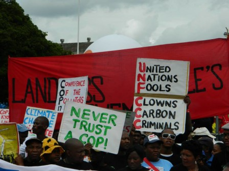 Participants at a rally outside COP 17 in Durban, South Africa. Credit: Quincy Saul